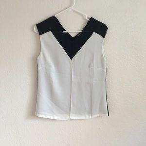 Calvin Klein White Black Mesh V-Neck Blouse Top